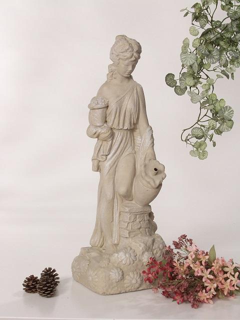 Statue de jardin de fille aux marguerites