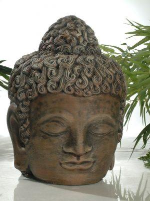 Statue de jardin de tête de bouddha