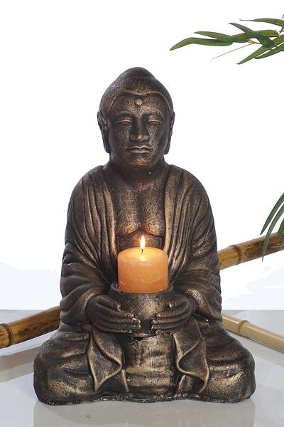 Statue de jardin Bouddha avec chandelle