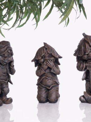 Statues de jardin de lutins avec outils