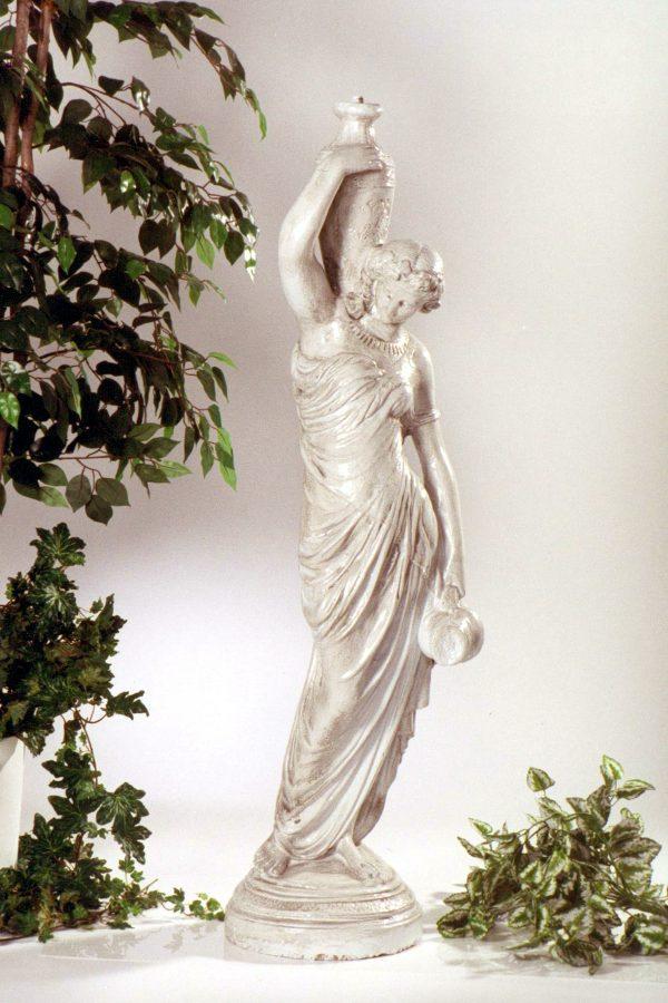 Statue de jardin de porteuse d'eau avec lanterne