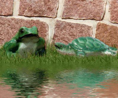 Statues de jardin de grenouille et tortue