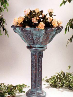 Pot de fleurs sur pied bleu et brun