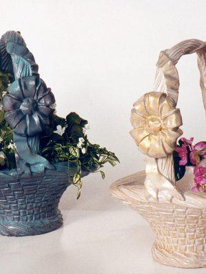 Pot à fleurs en forme de panier avec anse