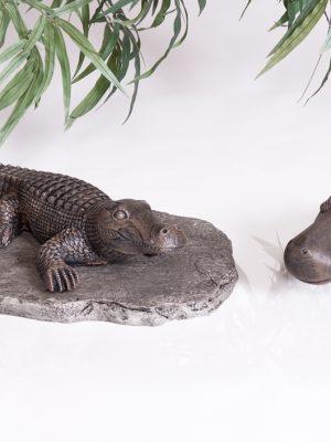 Statue de jardin crocodile et hippopotame